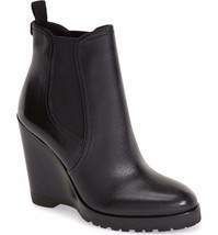 MICHAEL KORS Thea Wedge Boots Black Leather Bootie Boots Ankle Booties 9... - $74.77