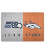 House Divided Man Cave NFL Football Welcome Mat Seahawks Broncos Doormat - $29.49
