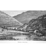 IMMIGRANT CARAVAN Passing thru Canyon - 1883 German Print - $10.80