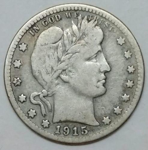 1915D Barber Quarter 25¢ Silver Liberty Head Coin Lot# EA 364