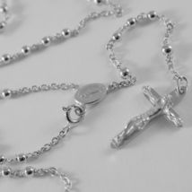 18K WHITE GOLD ROSARY NECKLACE MIRACULOUS MARY MEDAL & JESUS CROSS MADE IN ITALY image 7