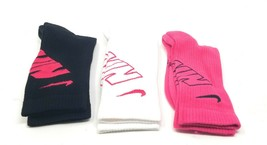 Youth Nike Crew Socks Small 3Y-5Y 3 Pairs Pink White Black Athletic Perf... - $19.75