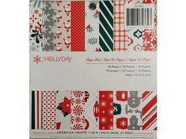 American Crafts Hollyday Paper Pad, 6x6 Inches #35762