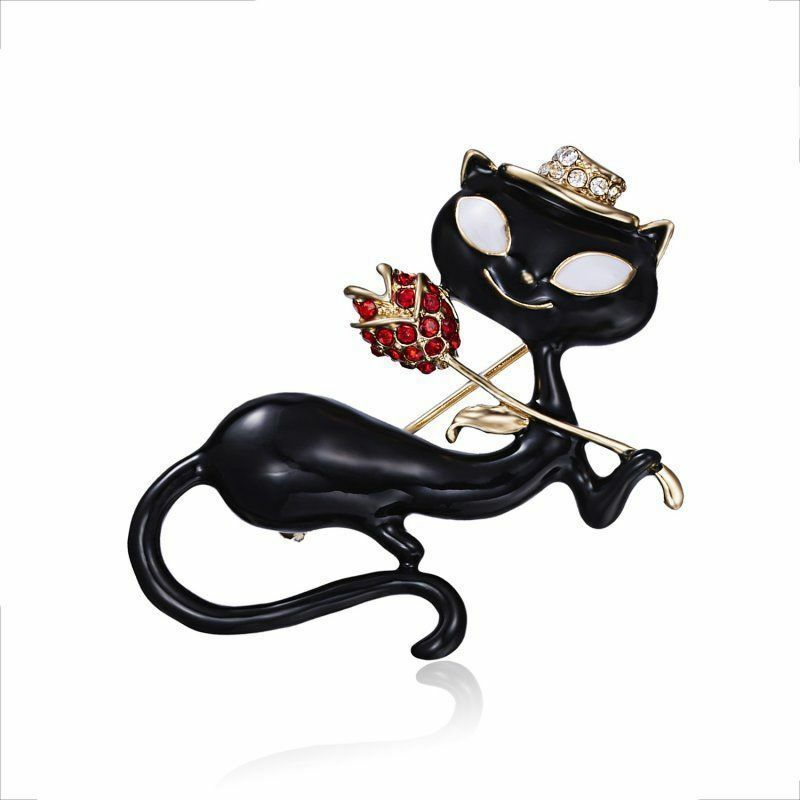 CLASSY BLACK CAT & ROSE BROOCH PIN  (13532)   >> MYSTERY ITEM INCLUDED