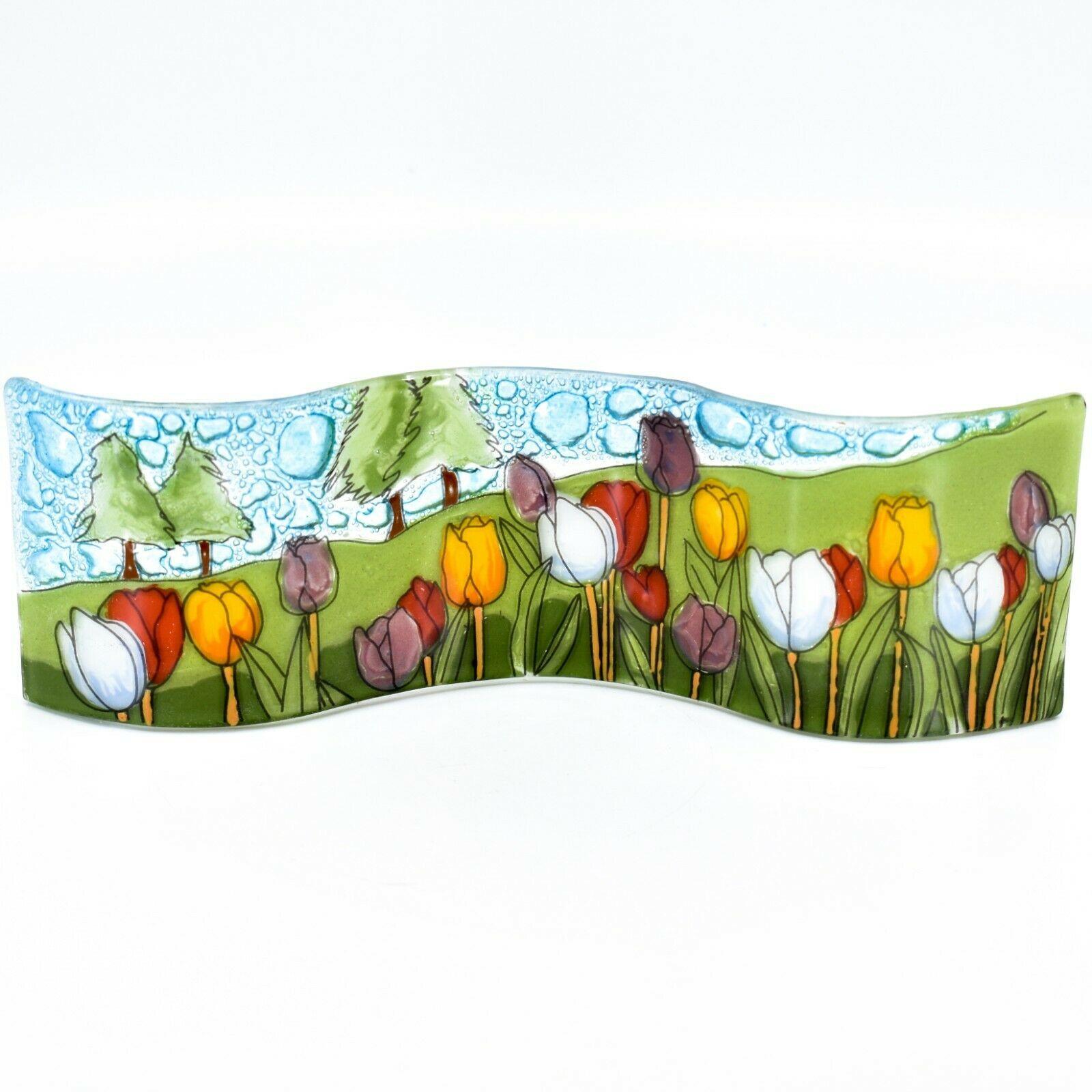 Fused Art Glass Tulips Flower Field Wavy Decor Sun Catcher Handmade in Ecuador