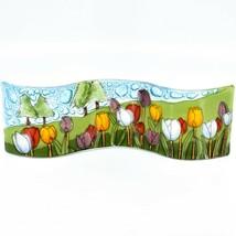 Fused Art Glass Tulips Flower Field Wavy Decor Sun Catcher Handmade in Ecuador image 1