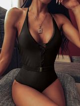 Woman V-Neck One Piece Swimsuit Sexy Bathing Suit Lace Up Halter Swimwear Suit image 14