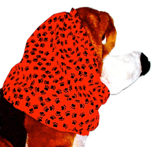 Dog Snood Red Black Mini Paw Prints Cotton Cavalier Cocker Spaniel Puppy... - $10.50
