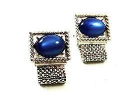 Vintage 1970's Silvertone Blue Wrap Around Cufflinks By SWANK 12917 - $19.30