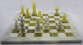 """Handcrafted solid Marble Chess Set, Green & White Size:12"""" X 12""""  - $83.00"""