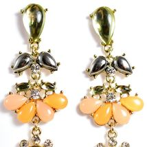 """Mode Peach & Black Lucite Bead 2.5"""" Drop Post Dangle Earrings New with Tag image 3"""