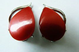 Vintage Cherry Red Blue Thermoset Silver Tone Clip On Earrings - $30.89