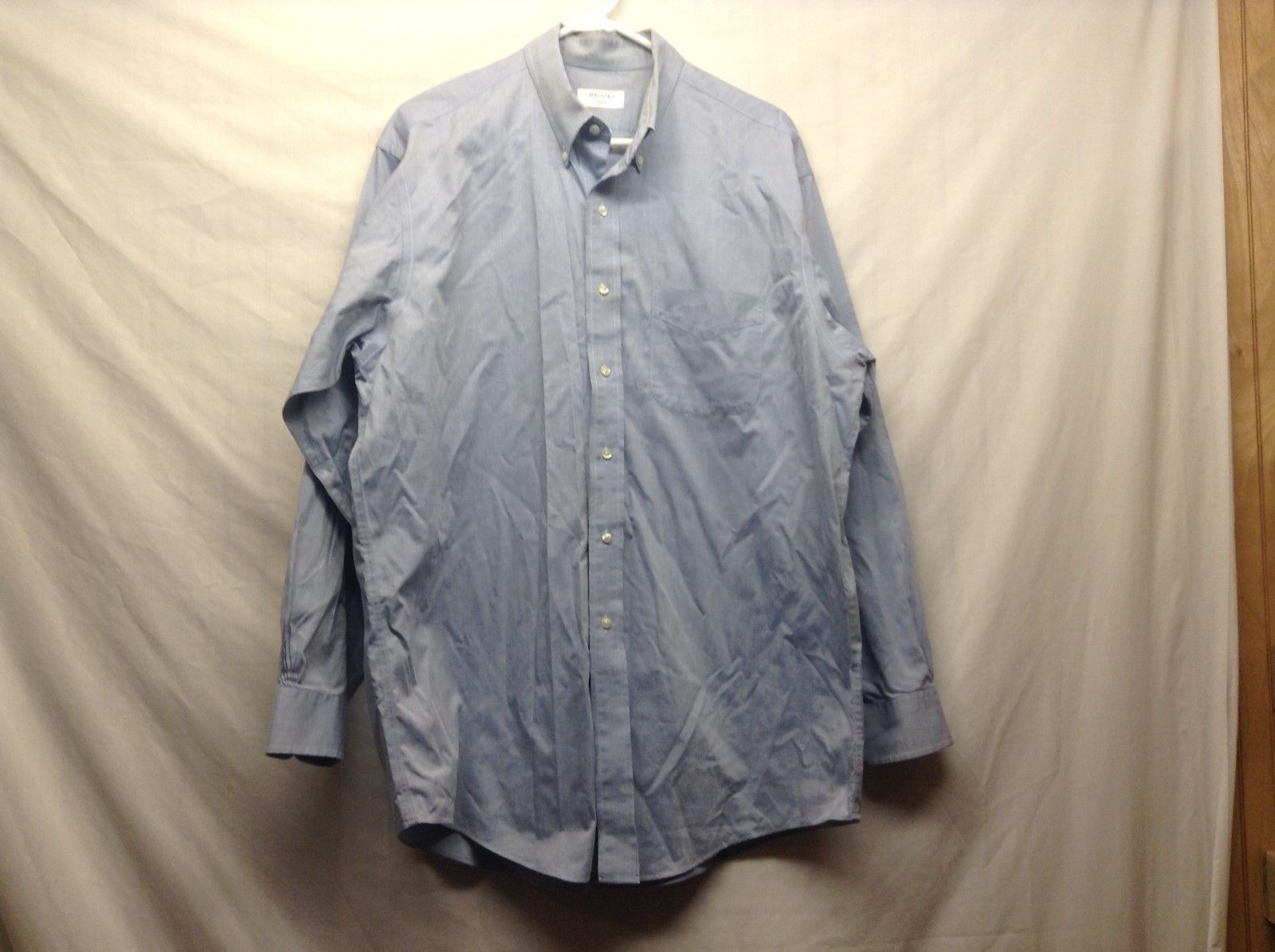 Brooks 346 Light Blue Button Down Cotton Shirt Sz 16.5 34