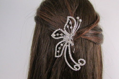 Women Silver Metal Head Fashion Jewelry Butterfly Hair Pin Bridal Wedding Party image 10