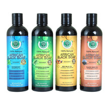 Liquid African Black Soaps - Unscented, Black Seed, Moringa, Peppermint - 16 Oz - $150.00