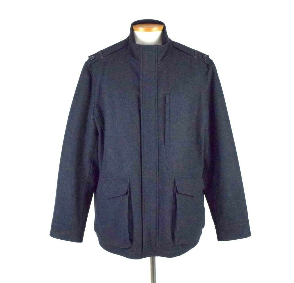 Primary image for Cole Haan Black Wool Field Coat Bomber Jacket Military Style Quilt Lined Men 2XL