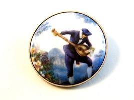 Vintage Man in Blue Playing Mandolin Brooch - $18.99