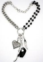 Collar Plata 925 , Doble Fila Ónix, Cadena Cadenilla, Corazón Trabajado image 2