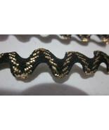 """15 YARDS 3/8"""" METALLIC GOLD BLACK RIC RAC RIBBON SEWING TRIM - $5.99"""