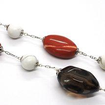 Silver necklace 925, Jasper, Howlite, Smoky Quartz, Oval Chain image 3