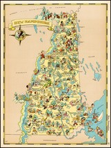 New Hampshire 1935 pictorial map POSTER Ruth Taylor White 29179 - $15.84