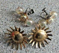 Screw on Earrings Gold Sun and 3 Rainbow beads Fashion Jewellery Vintage - $3.43