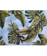 1/2 yard large green tropical leaves on blue cotton quilt fabric -free s... - $7.99