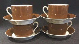 Fitz & Floyd Rondelet Dark Brown Cognac Flat Cup & Saucer Set Porcelain Set of 4 - $29.99