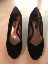 Liz & Co Women's Shoes Franci Black Suede Open Toe Faux Croc Heel Size 6.5 New - $28.71