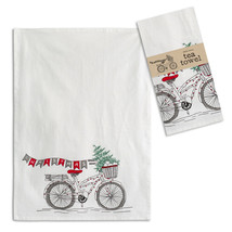 Farmhouse (4pk) CHRISTMAS BICYCLE TEA TOWEL Dish Rag Country Winter Tree Kitchen image 1