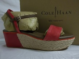 Cole Haan 10 M Arden Leather Tango Red Open Toe Wedges Sandals New Women... - $98.01