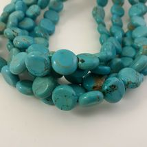 Multi Strand Turquoise Necklace 12mm Coin Beads image 4