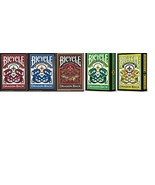 Set of 5 Bicycle Dragon Back Playing Card Decks Red, Blue, Gold, Yellow ... - $25.16