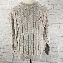 Vintage CHAPS Ralph Lauren Cable Knit Sweater Mens Large L Cotton Crest - $45.57
