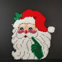Vintage Plastic Canvas Needlepoint Classic Santa Claus Decoration Handma... - $24.99