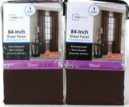 """2 Packages Mainstay 59"""" W X 84"""" L Warm Chocolate Sheer 1 Count Rod Pocket Panel - $20.99"""