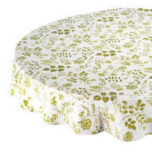 Flowing Flowers Vinyl Tablecovers By Home-Style Kitchen-70ROUND-SAGE - $14.59