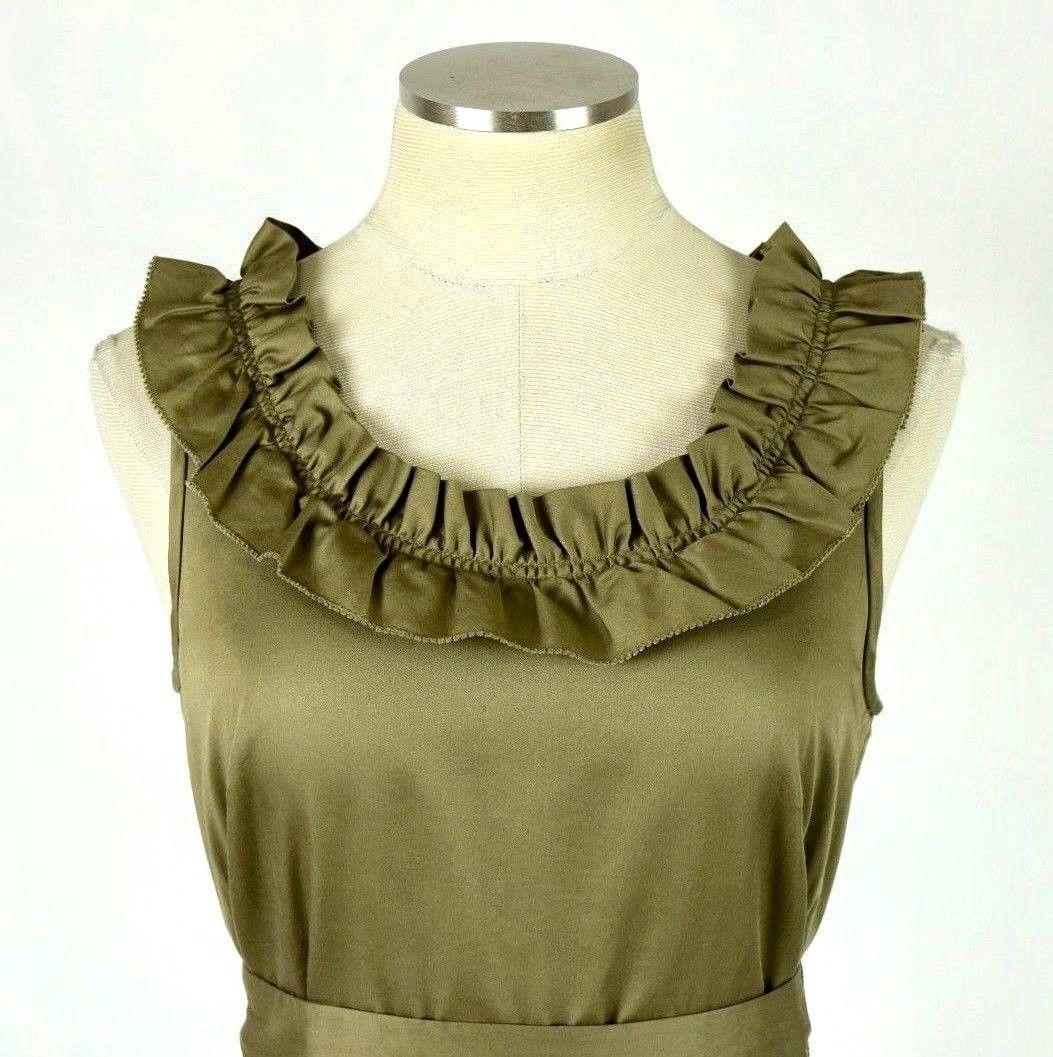 J.Crew Olive Ruffled Cotton Boat Neck Knee Length Shift Dress Sleeveless M image 4