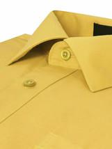 Omega Italy Men's Regular Fit Long Sleeve Yellow Button Up Dress Shirt - M image 2
