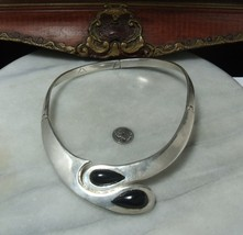 Vintage Sterling Silver Very Super Heavy Onyx Mexican Modernist Necklace  - €171,65 EUR