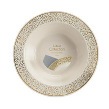 Lace Collection 12 Oz Plastic Bowls Ivory/gold/Case of 120 - €81,74 EUR