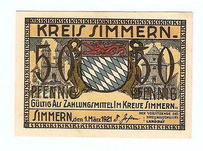 Germany Notgeld KREIS SIMMERN 50 Pfennig 1921 Uncirculated Banknote  #64n