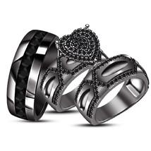 His and Hers Wedding Band Trio Set 10K Black Gold Finish Diamond Engagem... - $156.99