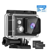 Tovendor 4K 20MP Action Camera, 170 Degree Wide Angle Sports Camera with... - $40.15