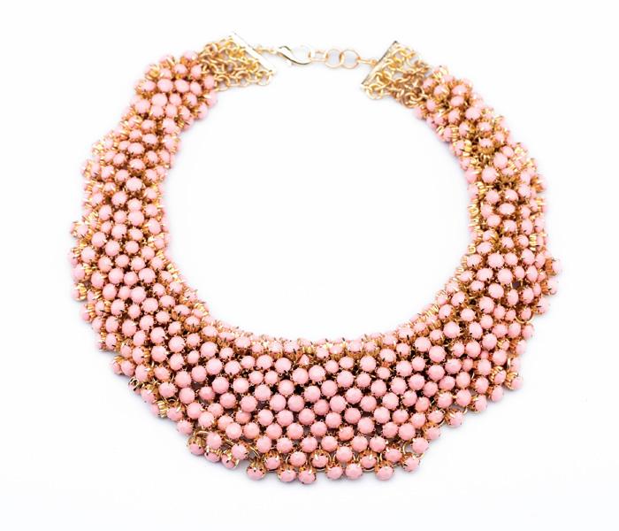 Latest Gold PlatedHandmade 2014 Fashion Big Pink Necklace