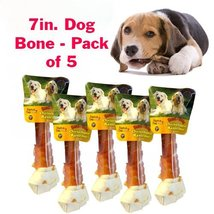 Alpha Dog Series Chicken Rawhide Bones 7inch - (Pack of 5) - $25.99