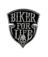Biker for Life Fabric Panel Logo Label Patch Skull DIY Motorcycle Jacket Iron On - $15.67