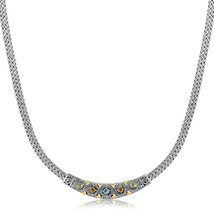 18k Yellow Gold and Sterling Silver Wheat Chain Necklace with Multi Gem Accents - $381.17