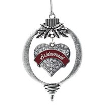 Inspired Silver Burgundy Bridesmaid Pave Heart Holiday Decoration Christmas Tree - $14.69