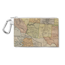 Vintage South West USA Map Canvas Zip Pouch - $14.99+